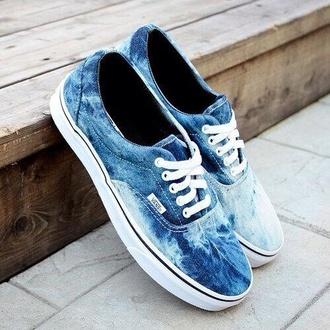 shoes vans bleached tumblr vans of the wall hipster waves ocean ocean design blue vans sneakers