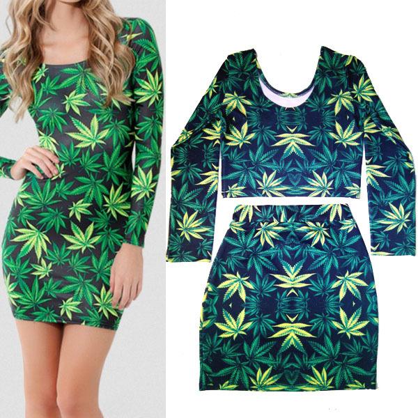 2014 New Set Women's Hot Pot Weed Marijuana Print Long Sleeve Top Crop Tee   Mini Skirt Bodycon Dress -in Jumpsuits & Rompers from Apparel & Accessories on Aliexpress.com