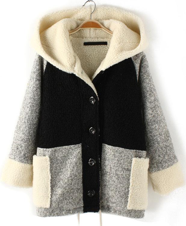 Black Contrast Grey Hooded Loose Wool Coat - Sheinside.com