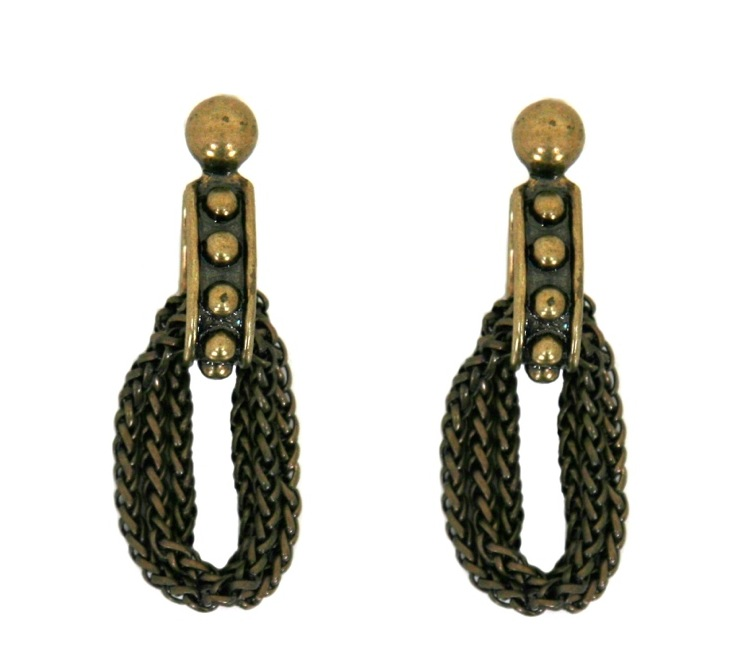 dudine — Durango Studded and Chain Earrings in Brass