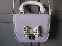 Violet Topshop small shoulder bag gold studded white bow pastel purple cute | eBay