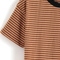 Contrast collar striped loose t-shirt