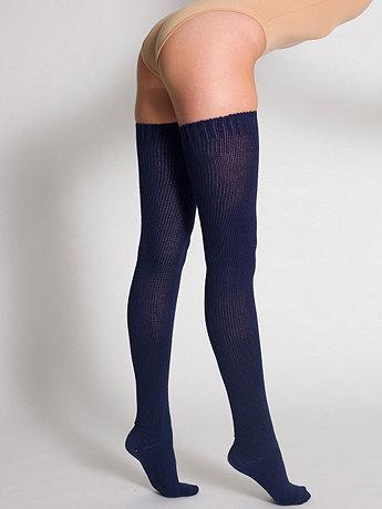 Cotton Solid Thigh-High Socks   American Apparel