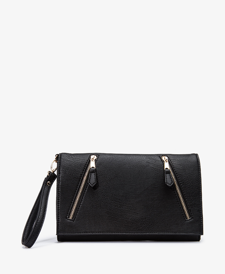 Faux Leather Zip Clutch w/ Optional Wristlet Strap   FOREVER21 - 1049257156