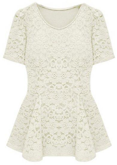 Beige Short Sleeve Crochet Lace Peplum Top - Sheinside.com