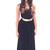 Maggie in Black Halter Evening Dress with Gold Belt (8500)                           | Elliot Claire London