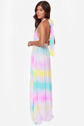 Pretty Tie-Dye Dress - Maxi Dress - Halter Dress - $65.00