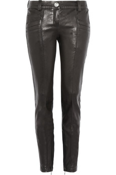 Cropped leather skinny pants    Balmain   70% off   THE OUTNET