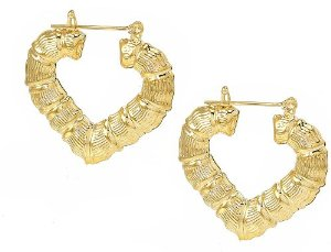 Amazon.com: Bamboo 14k Yellow Gold Plated Heart Hoop Earrings-1.44x1.44 Inches: Jewelry