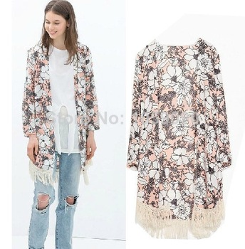 Aliexpress.com : Buy Fashion UK Brand ZA 2014 womens European style Black Japanese Kimono Coat Jacket Loose Blouse Retro Floral Print Top PLUS SIZE from Reliable shawl stole suppliers on Vogue Official Online Shop