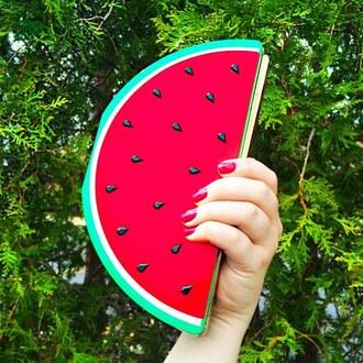 bag the shopping bag watermelon print watermelon clutch acrylic clutch fruit clutch fruits fruit handbag watermelon handbag summer handbag accessories summer accessories vibrant