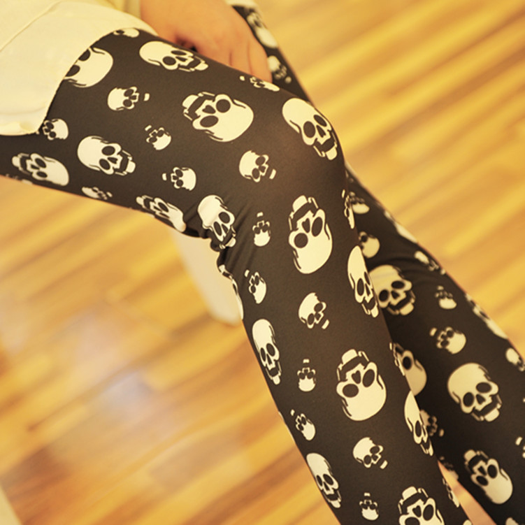 Fashion sexy korean hot sale spring and autumn smiley Skull ladies leggings women's long pants cheap price,Free shipping-in Leggings from Apparel & Accessories on Aliexpress.com