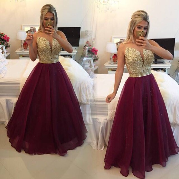 Maroon and gold evening dress - Color dress style