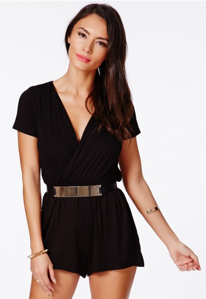Likara Wrap Over Playsuit In Black - Jumpsuits & Playsuits - Playsuits - Missguided