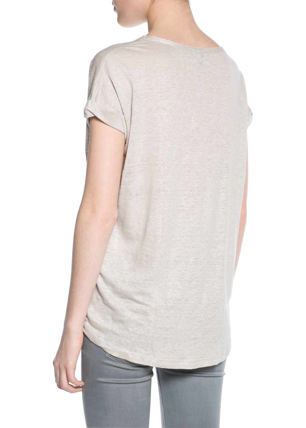 Linnen T-shirt -  T-shirts en tops - Dames - MANGO