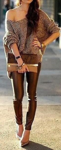 leggings leather leggings sweater off the shoulder bag purse clutch pants shoes heels cute high heels bronze heels chic cute sexy cute sweater brown brown sweater cute pants jeans cute jeans brown pants brown jeans