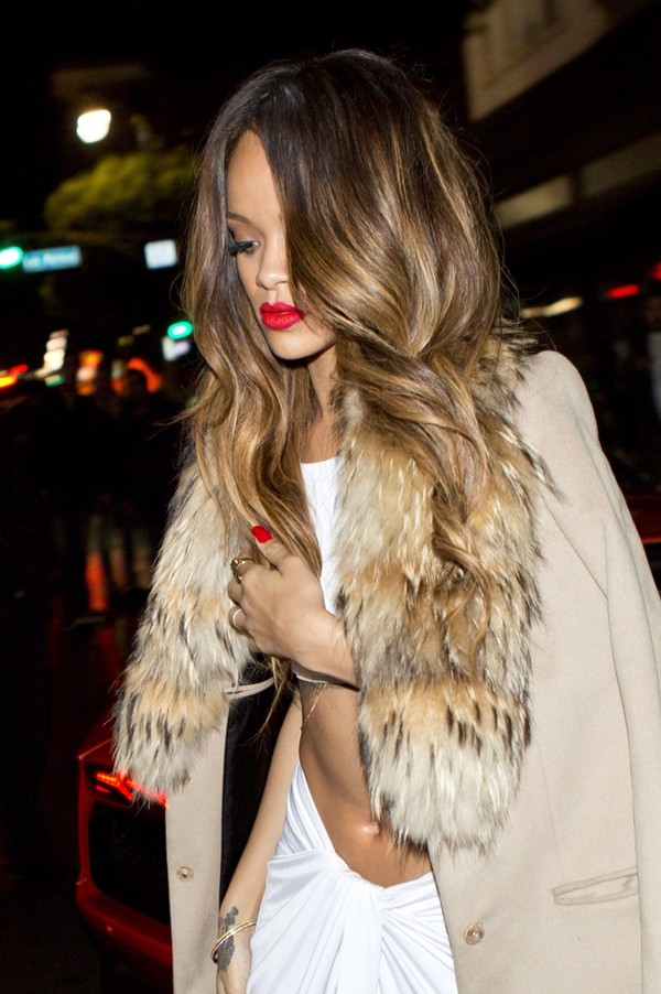 coat rihanna red white skirt fur khaki camel white crop tops body chain lipstick nails tattoo ombre hair dress