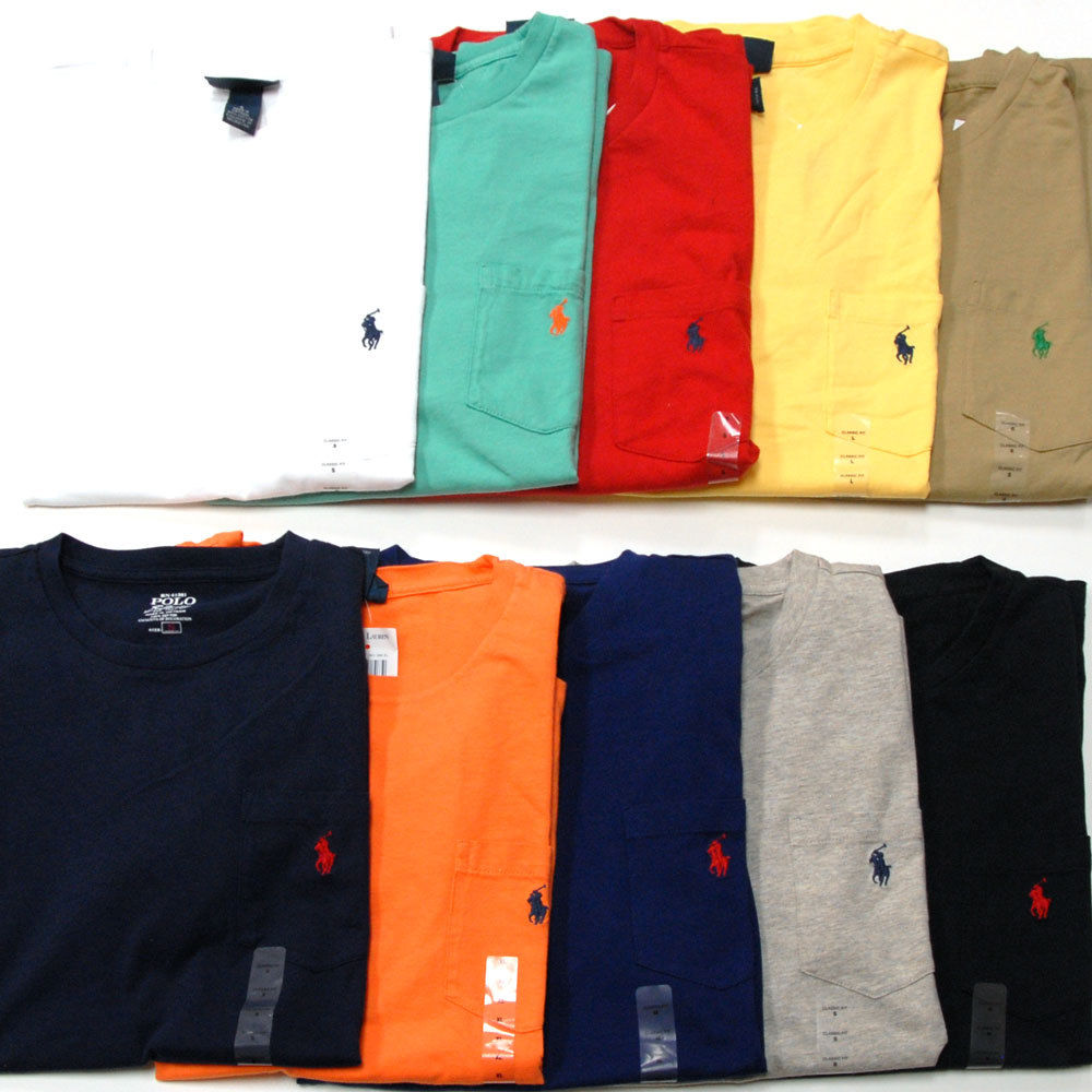 Polo Ralph Lauren Pocket T Shirt Crew Neck Mens Tee Short Sleeve New T Shirts | eBay
