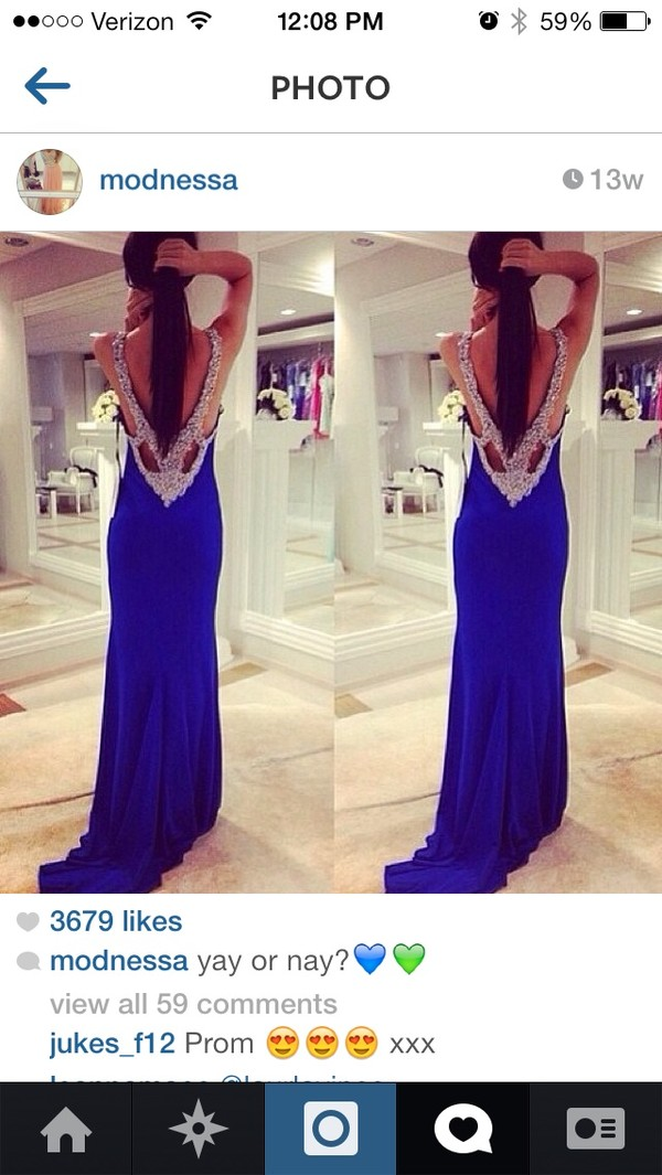 dress royal blue prom dress crystal open back