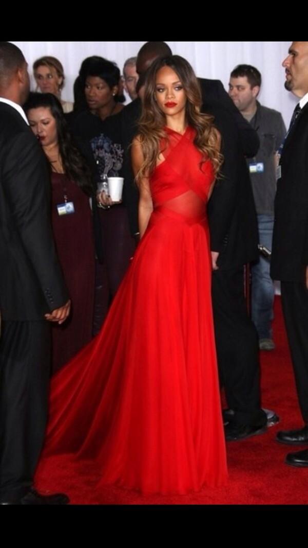 dress rihanna red dress riahana