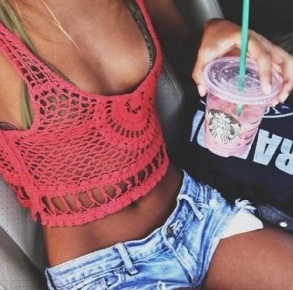 shirt cover up swimwear swimwear short beach shorts tank top crochet crop tops summer pink top summer outfits