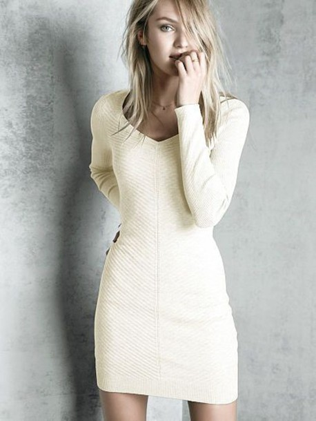 dress cozy dress sweater dress knitted dress candice swanepoel blonde hair