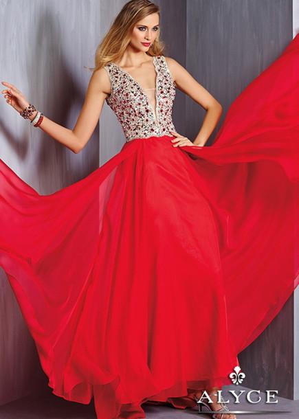 dress clothes beaded dress red dress v neck dress sleeveless dress chiffon dress backless dress skirt floor-length prom dress evening dress party dress