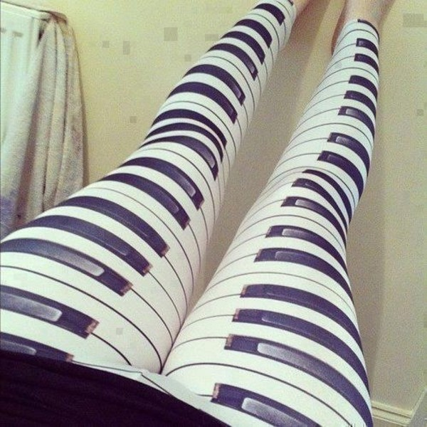 pants piano leggings clothes music printed leggings black white piano keys :) black piano white piano leggings