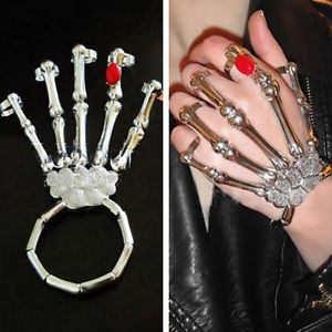 Punk Ladies Hand Bone Claw Skull Beacelet Bangle Cuff Rock 5 Finger Knuckle Ring | eBay