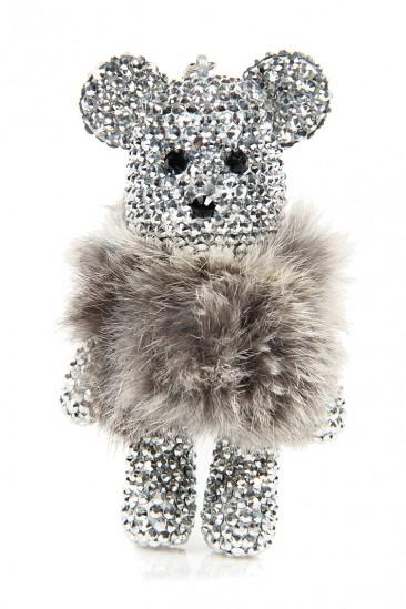 LoveMelrose.com From Harry & Molly | Large Rhinestone Teddy Bear Keychain- Silver