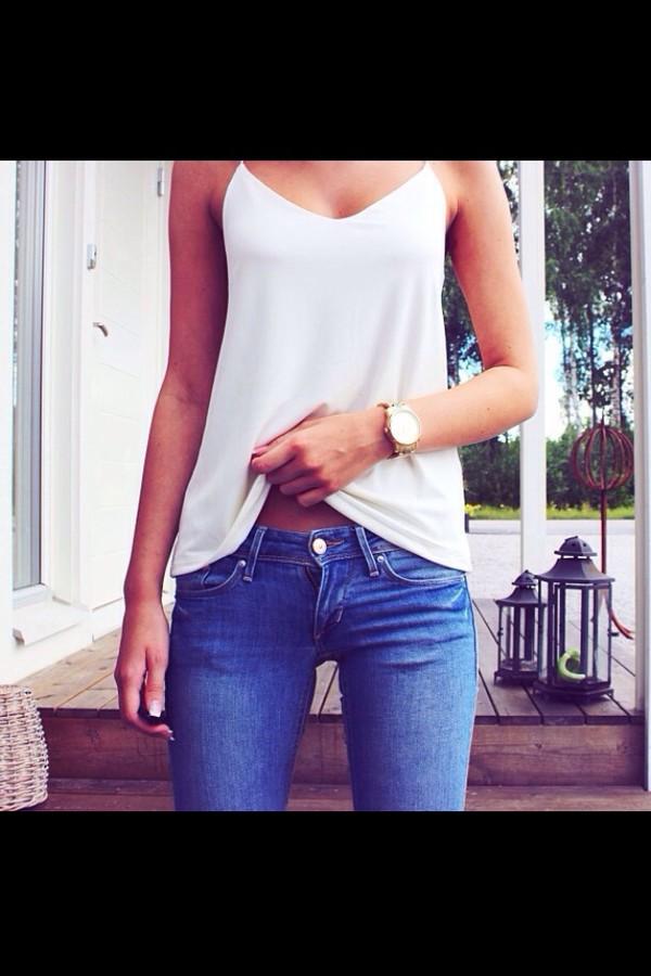 jeans tank top shirt