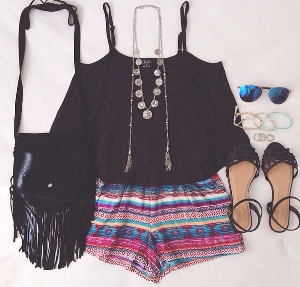shorts tribal pattern tank top sunglasses jewels shoes bag top jewelry hipster