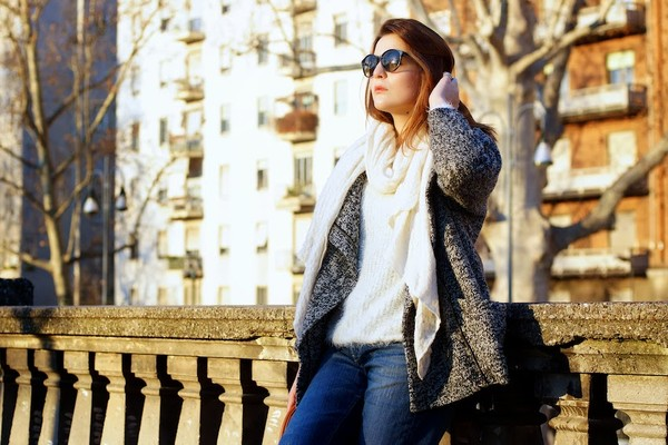 onto my wardrobe coat sweater jeans scarf sunglasses bag