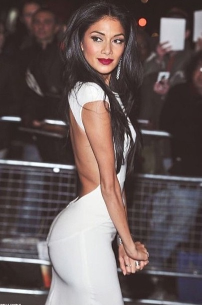 white dress open back nicole scherzinger