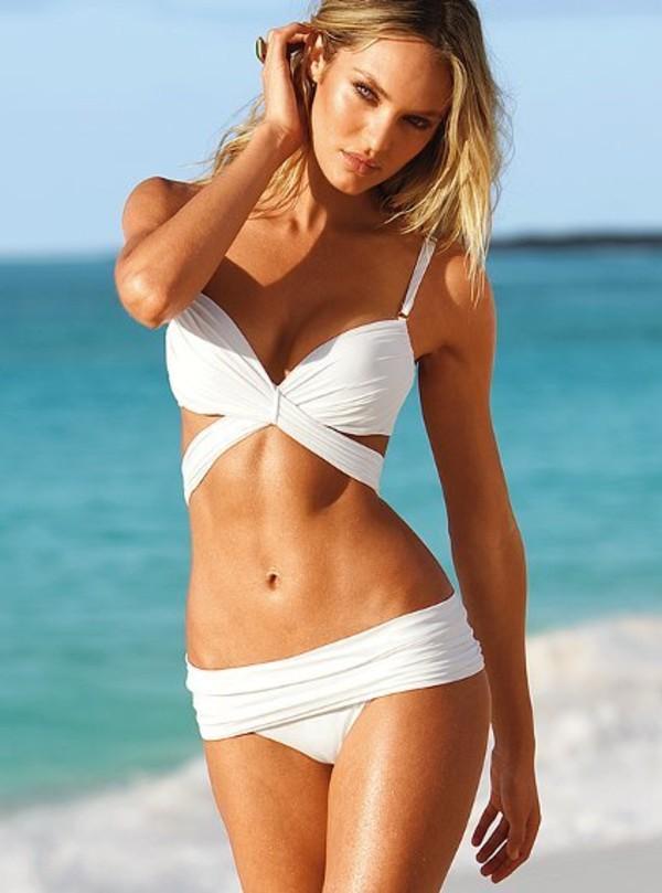 swimwear white two-piece bikini white push-up strappy swimwear