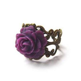 oh deer! :: Rings :: Purple Rose Antique Brass Filigree Ring