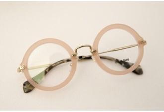 sunglasses not sunglasses cute glasses trendy miu miu eyeglasses beige pink hipster glasses clear round frame glasses