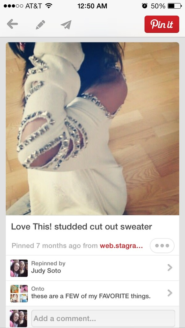 sweater white studded cut-out edgy long sleeves