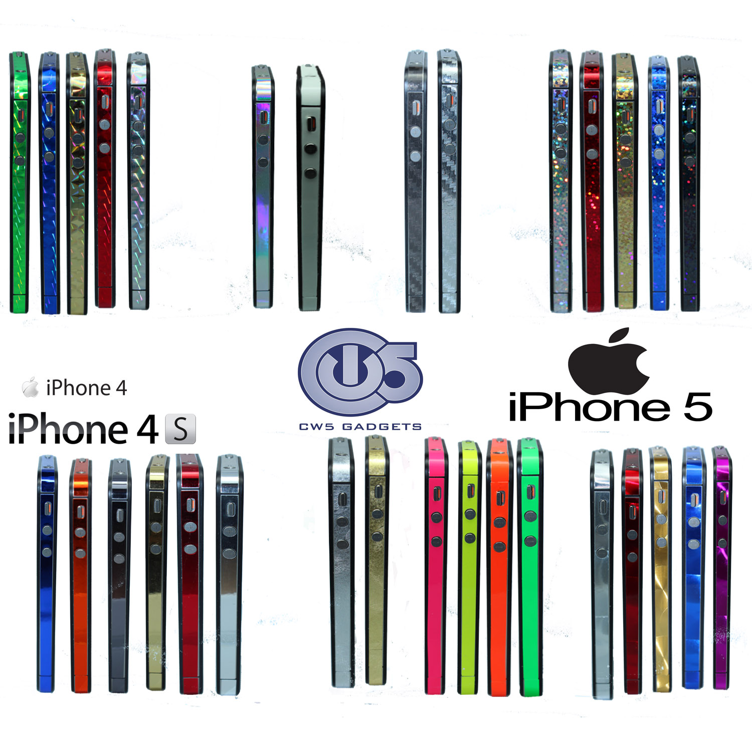 iPhone 4 4S 5 5S Side Sticker Set Bumper Carbon Fibre Vinyl Decal Wrap Kit | eBay