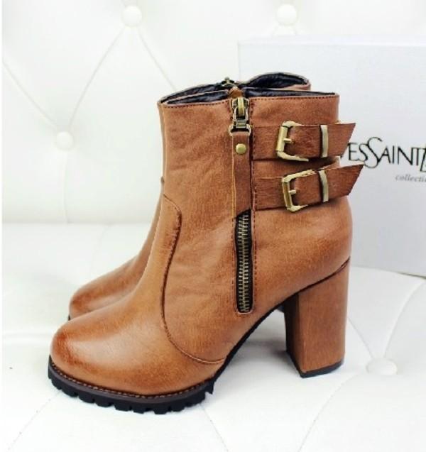 shoes boot high heel zip