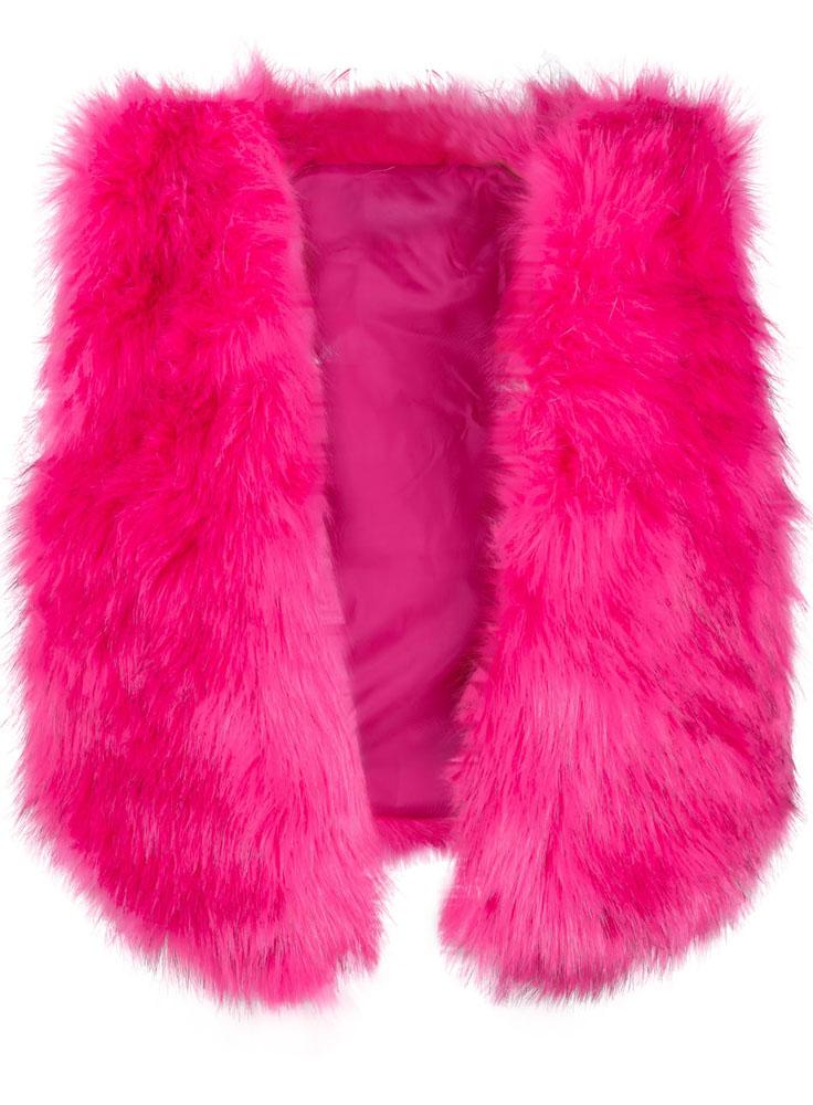 Rose Red Faux Fur Crop Vest - Sheinside.com