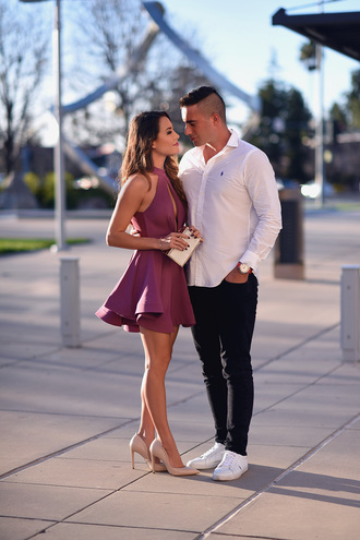 hapa time blogger dress shoes shirt mini dress nude heels high heel pumps clutch purple dress