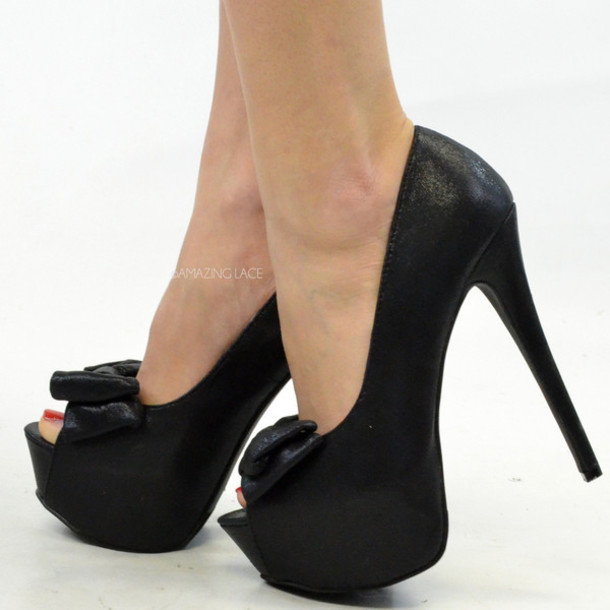 Shoes: peep toe pumps bow heels black heels stilettos peep toe