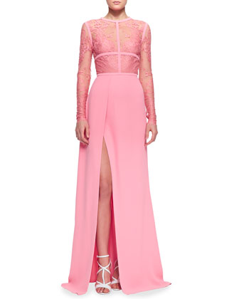 Lace-Top Slit Long-Sleeve Elie Saab Evening Dress [Lace-Top Elie Saab Evening Dress] - $200.00 : Discover Unique Dresses Online at PromUnique.com