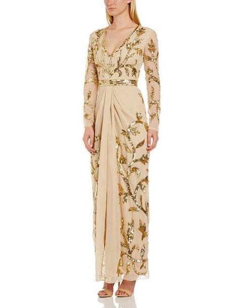 dress cocktail dress cocktail dress beige dress beige nude nude dress gold ornaments prom dress long sleeve dress v neck vneck dress glamour
