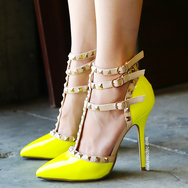 shoes pumps neon yellow heels studs and leather ankle strap multicolor heels yellow pumps yellow heel neon heels pointed toe pumps