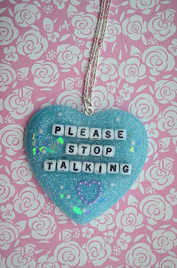 Kawaii Please Stop Talking Heart Necklace by TheBetterSweater