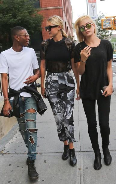 jeans top crewneck denim shoes sunglasses bag booties jewelry jacket ripped mesh boots gigi hadid black t-shirt bralette printed pants roses shirt underwear