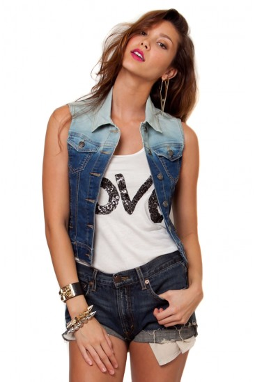 LoveMelrose.com From Harry & Molly | Faded Ombre Denim Vest - OUTERWEAR - TOPS