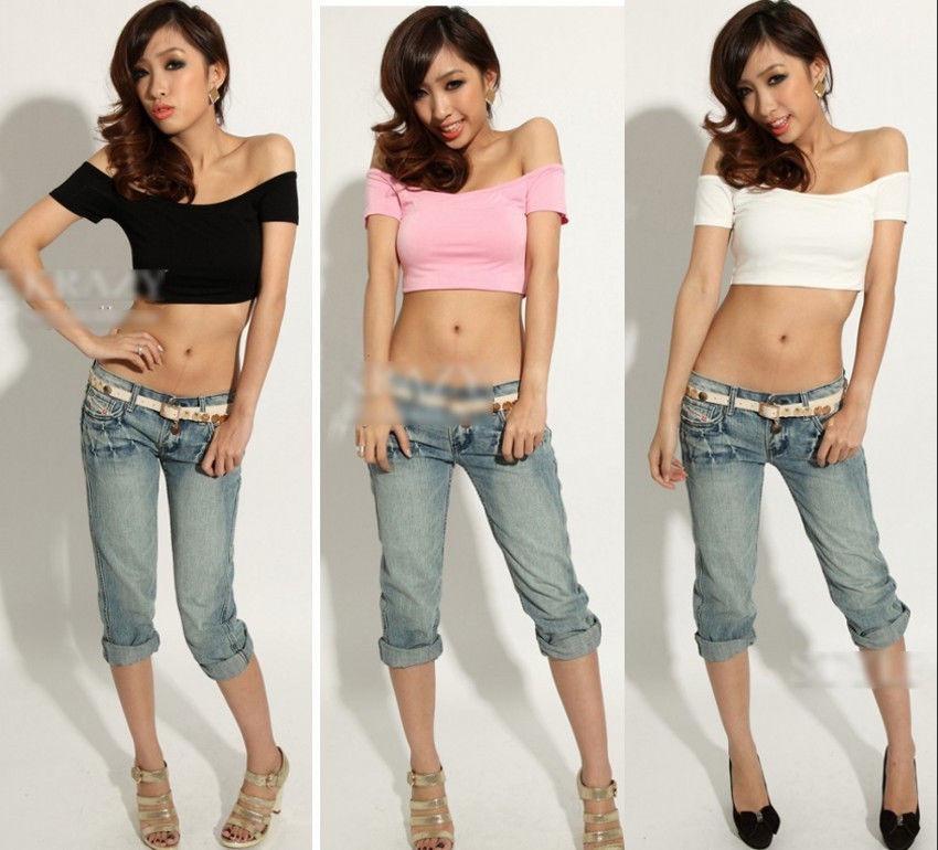 Hot Clubwear Womens Sexy Off Shoulder Dancer Hiphop Club Crop Tops Tee W7007 | eBay